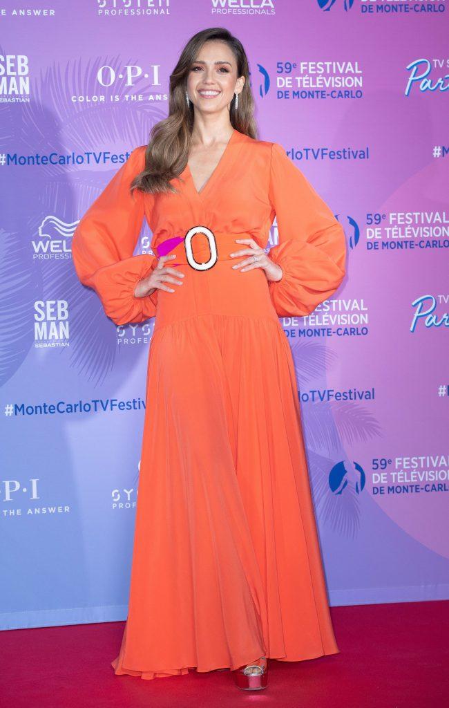 Jessica Alba, Silvia Tcherassi orange dress, sandals, celebrity shoe style, monaco, TV Series Party, 59th Monte Carlo Television Festival, Monaco - 15 Jun 2019
