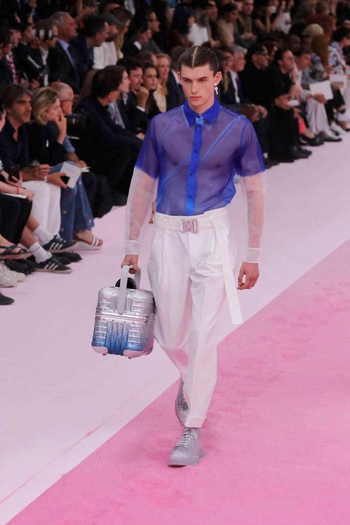 A model wears a creation for the Dior mens Spring-Summer 2020 fashion collection presented in ParisFashion Mens S/S 2019 Dior, Paris, France - 21 Jun 2019