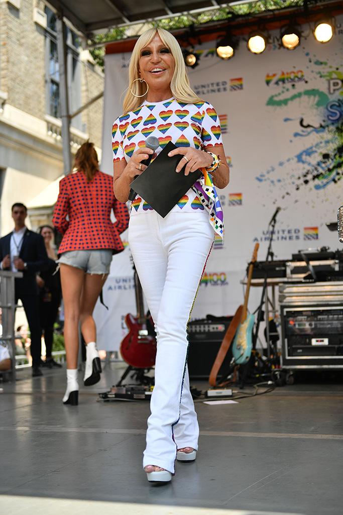 Donatella Versace, stonewall inn 2019 world pride, lgbtq, versace
