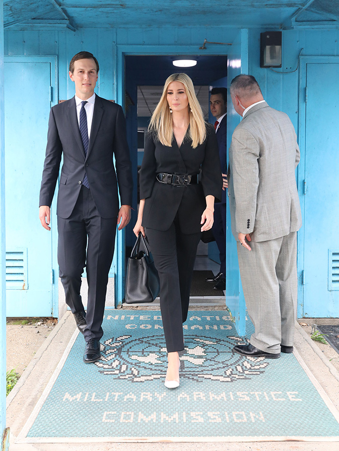Ivanka Trump (C), US President Donald J. Trump's daughter and a White House adviser, comes out of a conference room of the Military Armistice Commission inside the inter-Korean truce village of Panmunjom in the Demilitarized Zone, which separates the two Koreas, 30 June 2019. The US leader arrived in South Korean on 29 June for a two-day visit that will include a meeting with South Korean President Moon Jae-In and a trip to the Demilitarized Zone.US President Donald Trump visits South Korea, Panmunjom - 30 Jun 2019