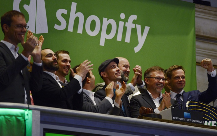 Tobias Lutke (4-l) the Ceo of the E-commerce Site Shopify Russ Jones (2-l) the Company's Chief Financial Officer and Others Celebrate Ringing the Opening Bell Before the Initial Public Offering of Shopify at the New York Stock Exchange in New York New York Usa 21 May 2015 Shopify an E-commerce Software Company Based in Canada was Valued at Over 1 Billion Us Dollars in the Ipo United States New YorkUsa New York Shopify Ipo at Nyse - May 2015