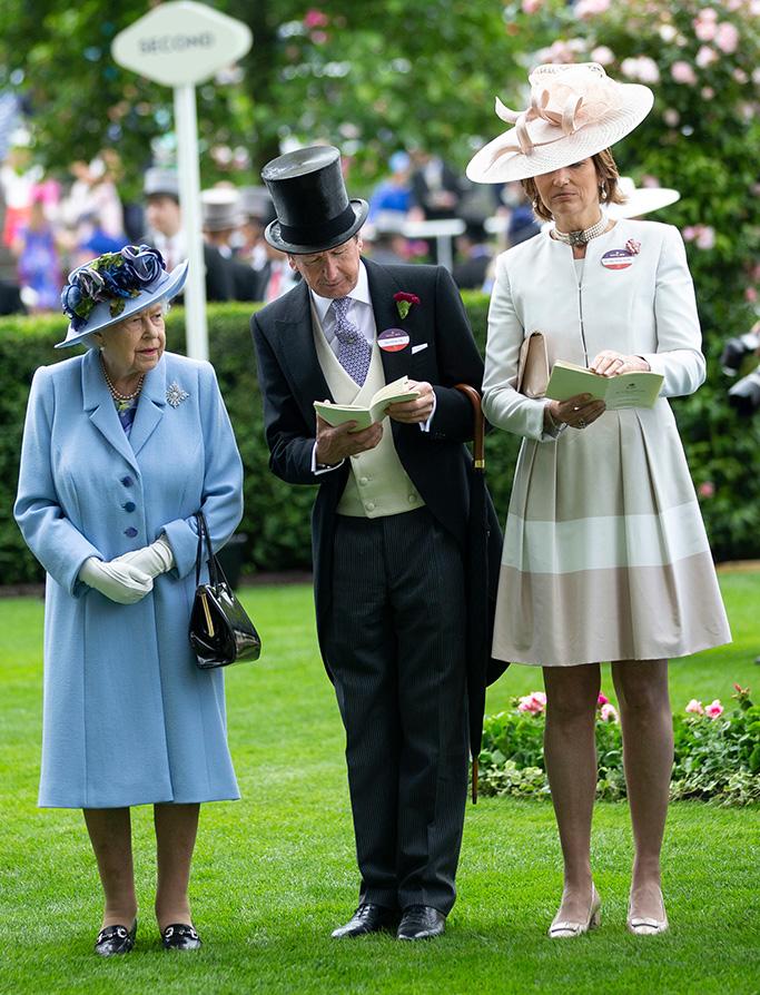 Queen Elizabeth II with John Warren and Lady Carolyn Warren.Royal Ascot, Day 1, UK - 18 Jun 2019