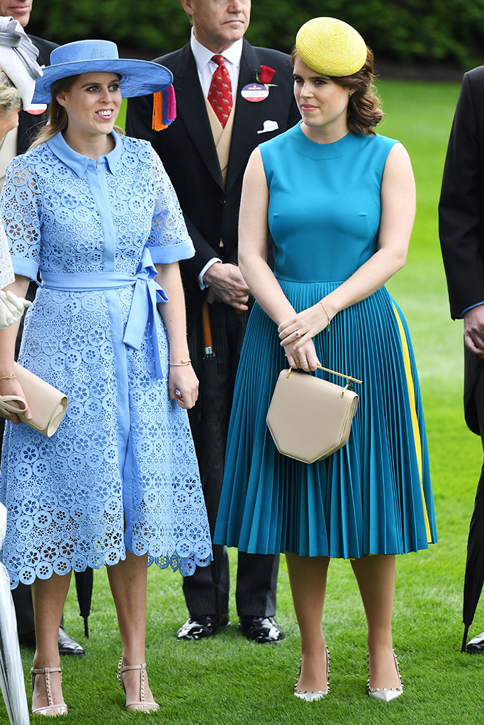 Princess Beatrice and Princess Eugenie, valentino rockstud pumps, calvin klein dress, Royal Ascot, Day 1, UK - 18 Jun 2019 Eugenie Wearing Calvin Klein