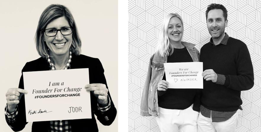 Joor's Kristin Savilia and NuOrder's Olivia Skuza hold up Founders for Change signs