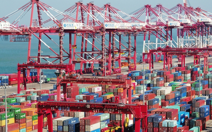 Shipping containers at a port in Qingdao, China.