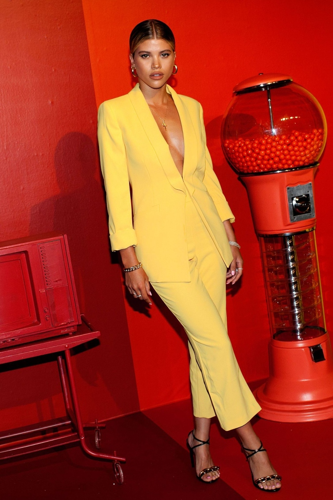 sofia richie, yellow alice and olivia suit, strappy sandals, pride party