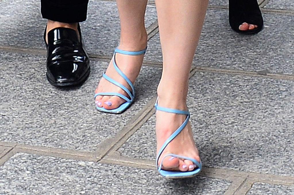 Sophie Turner, baby blue strappy sandals, paris street style