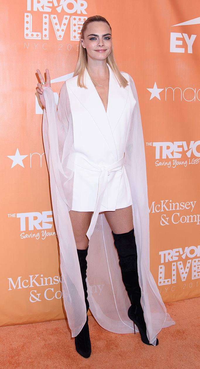 Cara Delevingne wearing Balmain at TrevorLIVE gala