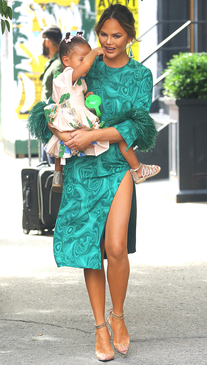 Chrissy Teigen, Alevi Milano sandals, perla heels, 16Arlington green dress, luna