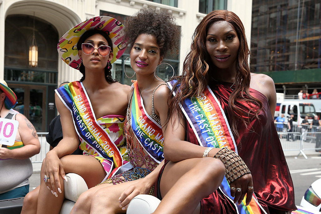 Pose actresses Indya Moore, Dominique Jackson and MJ Rodriguez attend the NYC Pride Parade in New York CityPictured: MJ Rodriguez,Indya Moore,Dominique JacksonRef: SPL5101308 300619 NON-EXCLUSIVEPicture by: Christopher Peterson / SplashNews.comSplash News and PicturesLos Angeles: 310-821-2666New York: 212-619-2666London: 0207 644 7656Milan: 02 4399 8577photodesk@splashnews.comWorld Rights