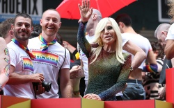 Fashion designer Donatella Versace attends the