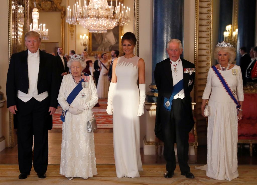 melania trump, Queen Elizabeth II, President Donald Trump, Prince Charles, Camilla, the Duchess of Cornwall, state banquet
