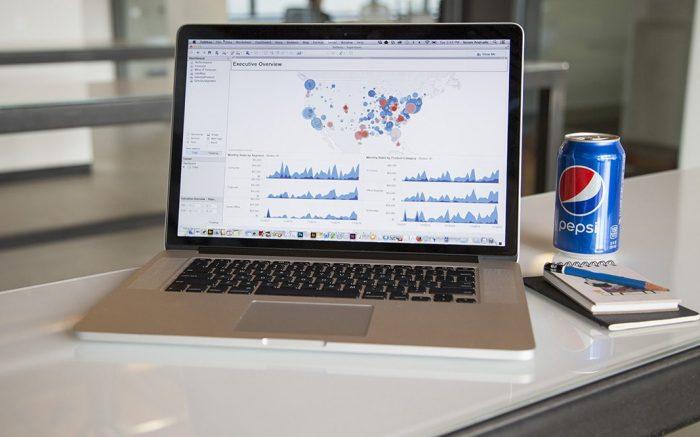 Tableau data analytics software on a computer screen