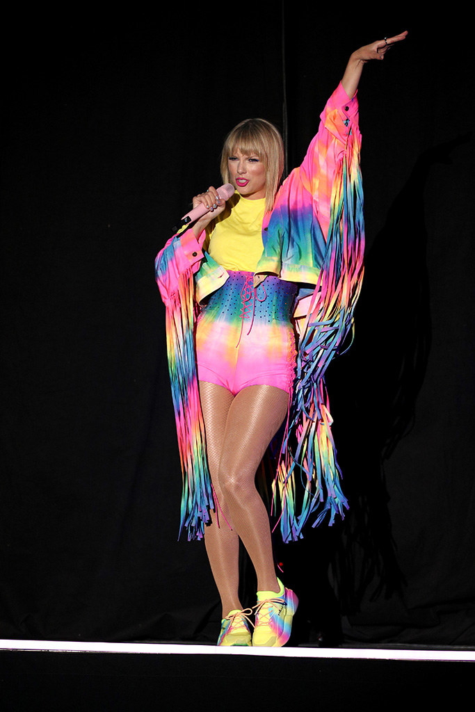 Taylor Swift, tie-dye trend, hotpants, stella mccartney sneakers, fringe jacket, iHeartRadio Wango Tango, Show, Dignity Health Sports Park, Los Angeles, USA - 01 June 2019