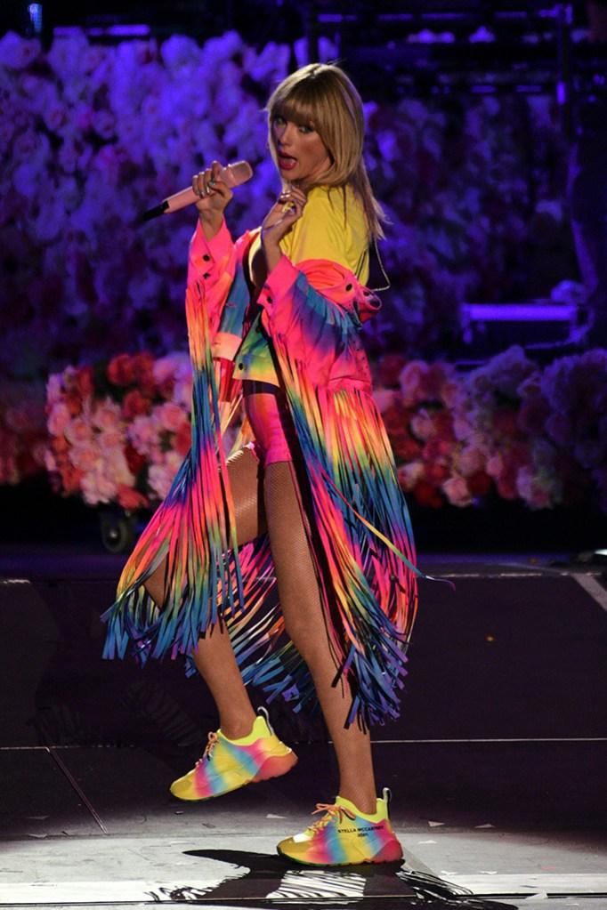 Taylor Swift, stella mccartney sneakers, legs, hot pants, fringe, denim, tie-dye trend, celebrity style, onstage, iHeartRadio Wango Tango, Show, Dignity Health Sports Park, Los Angeles, USA - 02 June 2019