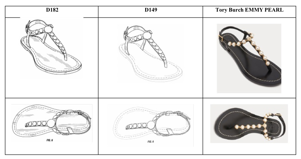 Bernardo's Mojo Sandals patent and Tory Burch's Emmy Pearl Sandals
