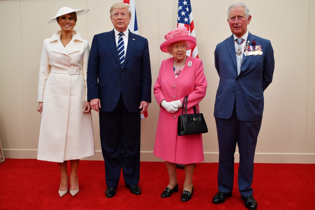 (R-L) Prince Charles, Queen Elizabeth II, President of the United States, Donald Trump and First Lady of the United States, Melania Trump