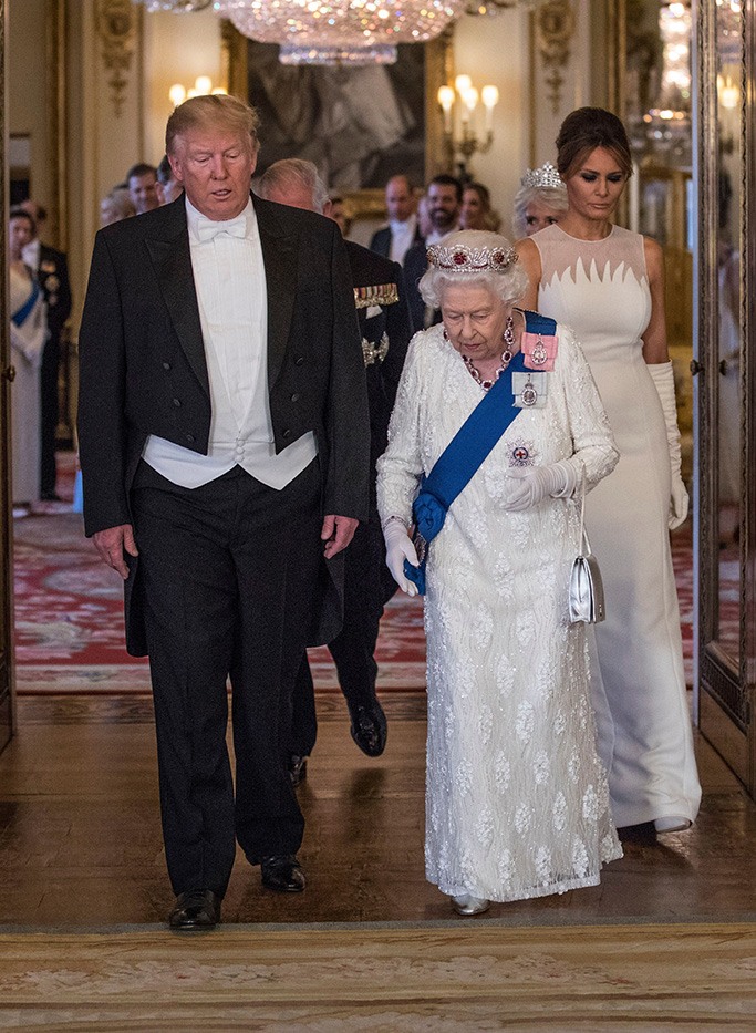 Queen Elizabeth II Elizabeth II and Donald Trump, President of The United States of America walk together into the Music Room, flanked by the First Lady and Prince Charles with Camilla, at State Banquet, Buckingham PalaceUS President Donald Trump state visit to London, UK - 03 Jun 2019
