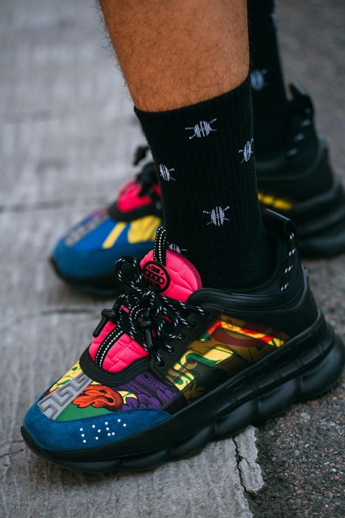 versace, sneakers, milan fashion week men's, street style,