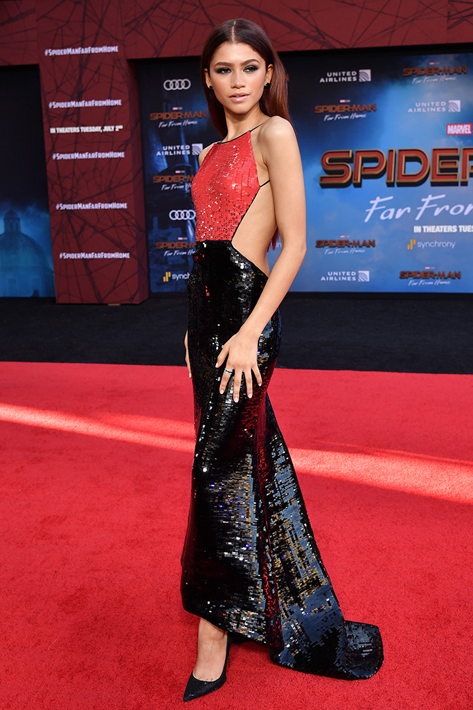 Zendaya in armani prive black and red dress, christian louboutin so kate pumps, 'Spider-Man: Far From Home' film premiere, Arrivals, TCL Chinese Theatre, Los Angeles, USA - 26 Jun 2019Wearing Giorgio Armani same outfit as catwalk model *10068432ce