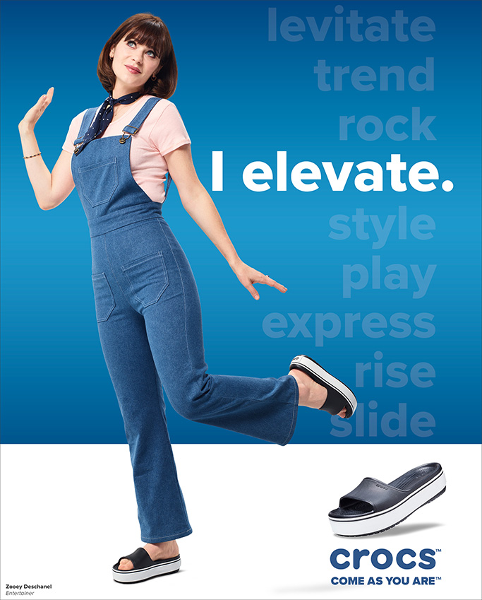 Zooey Deschanel, Crocs, Come As You Are, comfrot shoes, blue sandals, summer 2019