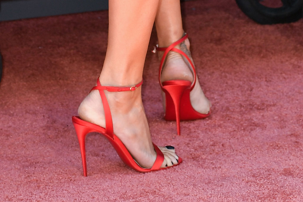 Adriana Lima'Once Upon a Time in Hollywood' film premiere, Arrivals, TCL Chinese Theatre, Los Angeles, USA - 22 Jul 2019Wearing Magda Butrym Shoes by Christian Louboutin, celebrity shoe style, red sandals, pedicure