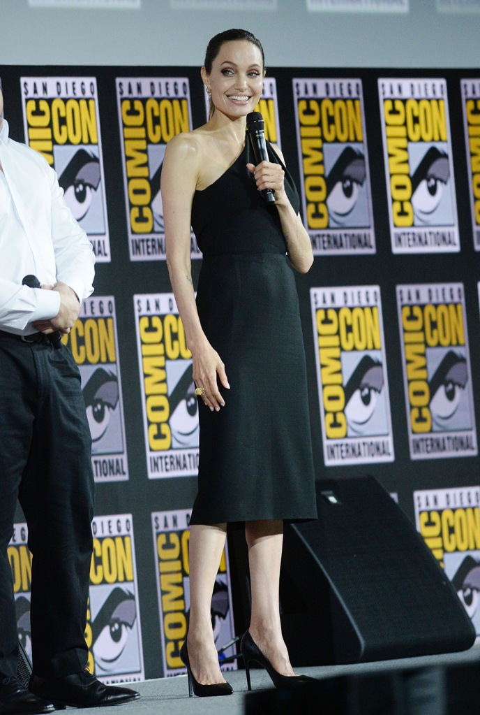Angelina Jolie, little black dress, stilettos, classic black pumps, celebrity style, Marvel Studios panel, Comic-Con International, San Diego, USA - 20 Jul 2019