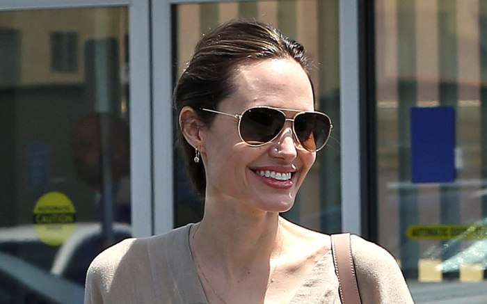 Angelina Jolie, celebrity style, aviator sunglasses, beige dress