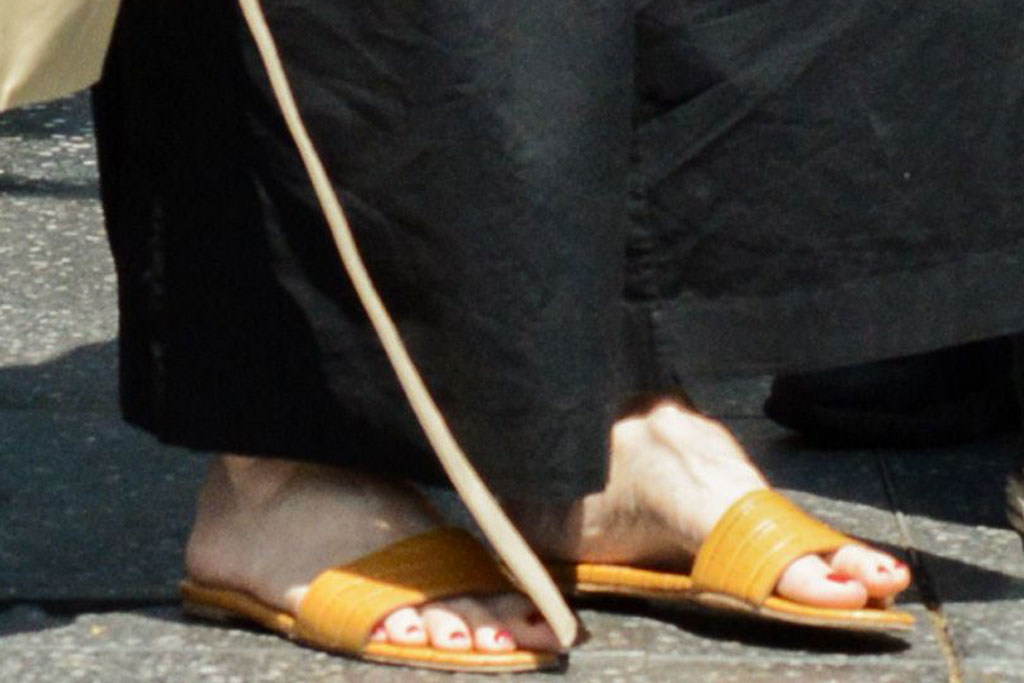 Angelina Jolie, slide sandals, pedicure, red nail polish, Shiloh Jolie-Pitt, Vivienne Jolie-PittAngelina Jolie out and about, Los Angeles, USA - 06 Jul 2019