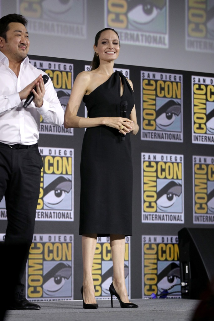 Angelina Jolie, little black dress, stilettos, classic black pumps, celebrity style, Marvel Studios panel, Comic-Con International, San Diego, USA - 20 Jul 2019Angelina JolieMarvel Studios panel, Comic-Con International, San Diego, USA - 20 Jul 2019