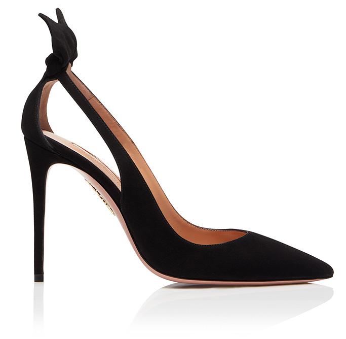 Aquazzura Pointy toe Deneuve pumps, Black Suede leather, heels