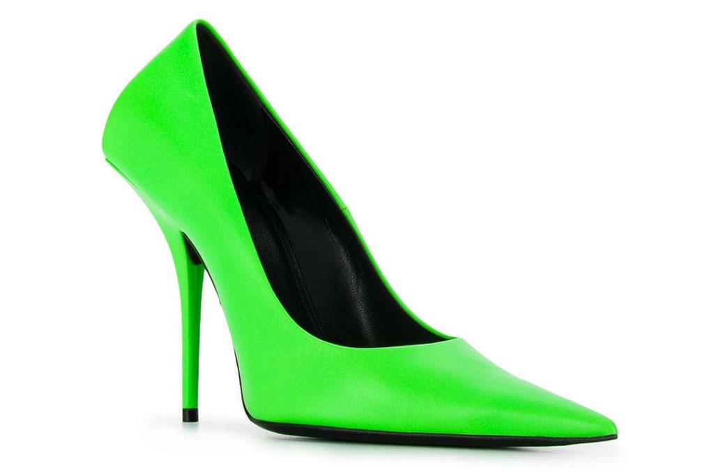 Balenciaga Knife pumps in neon green