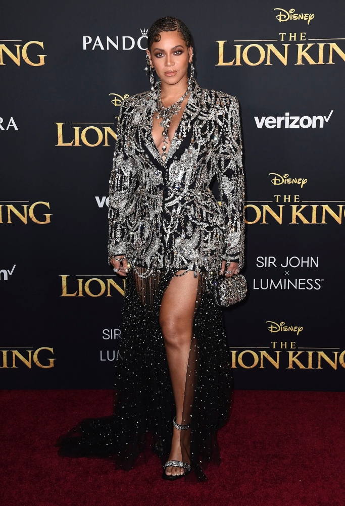 beyonce, the lion king world premiere, alexander mcqueen, sparkly sandals