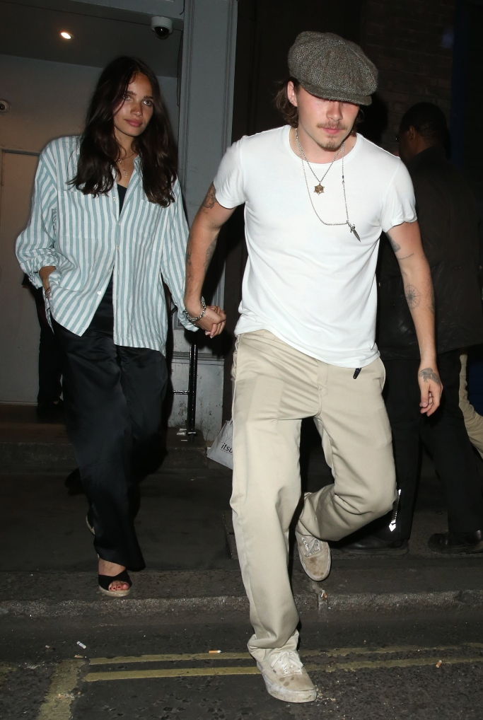 Brooklyn Beckham and Hana Cross, Moschino Pride Party, dirty white vans