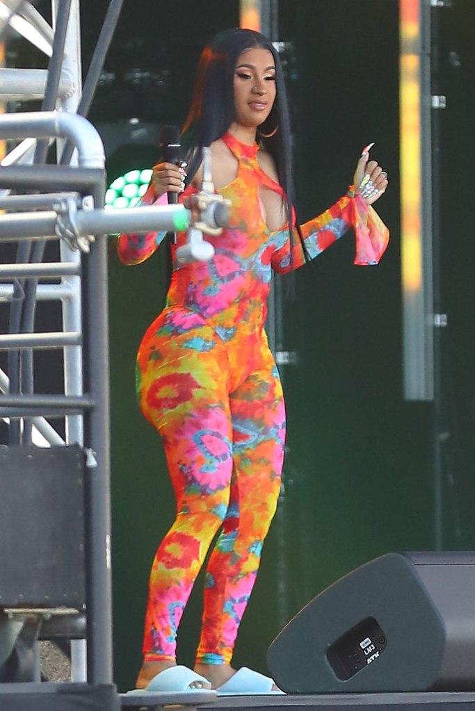 Cardi B, catsuit, celebrity style, tie dye, neon, slides, jimmy Kimmel live