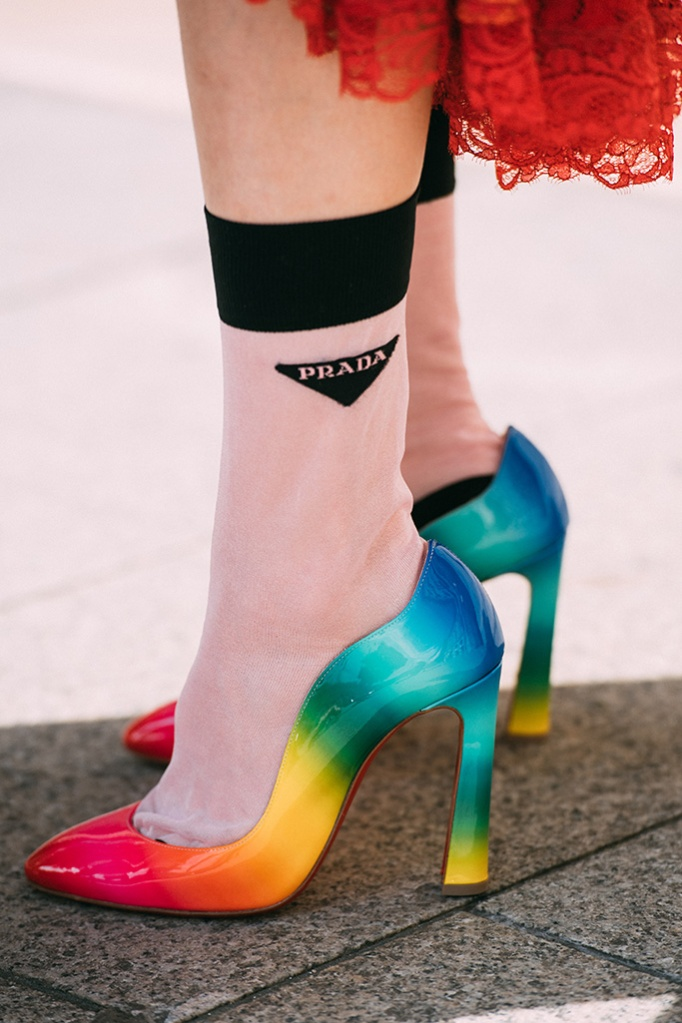 Christian Loubitin, rainbow heels, Paris Couture week, 2019 shoes, prada socks