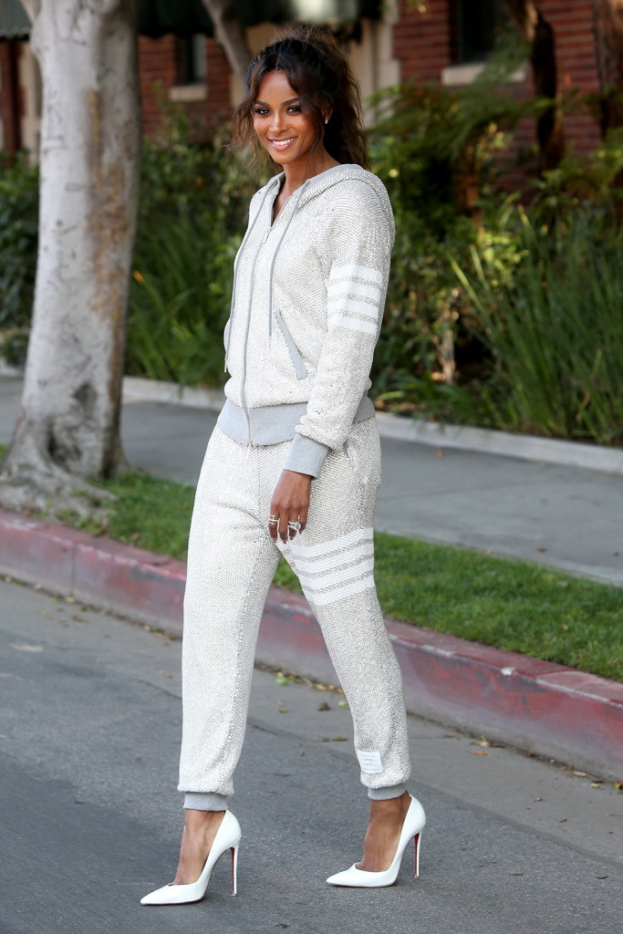 Ciara, thom Browne crystal embellished sweatsuit, christian louboutin so Kate pumps, is all smiles as she is seen walking to a meeting in Los Angeles, wearing Thom BrownePictured: CiaraRef: SPL5106770 300719 NON-EXCLUSIVEPicture by: SplashNews.comSplash News and PicturesLos Angeles: 310-821-2666New York: 212-619-2666London: 0207 644 7656Milan: +39 02 56567623photodesk@splashnews.comWorld Rights