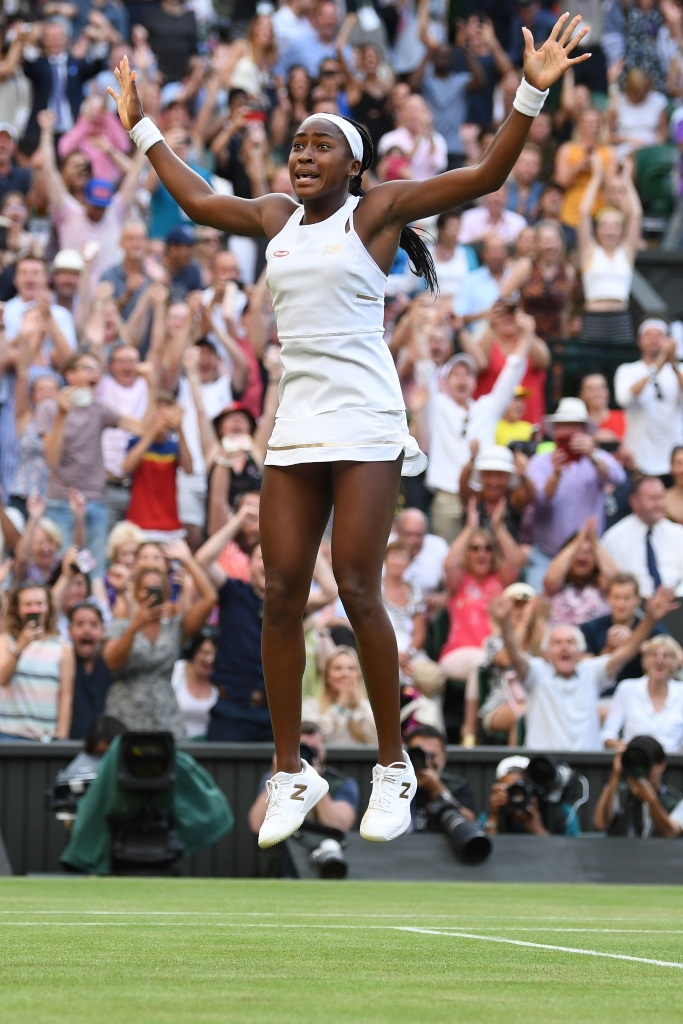 Cori Gauff celebrates after winning her Ladies' Singles third round match, new balance, wimbledon 2019