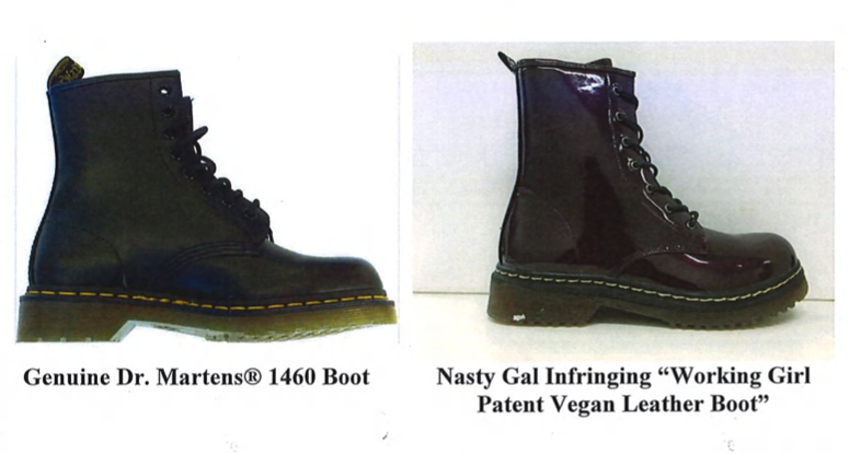 An exhibit in Dr. Martens' lawsuit against Nasty Gal.