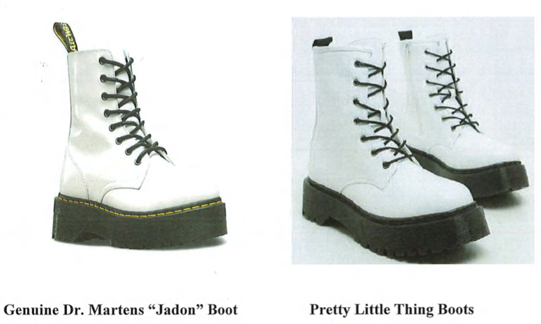 An exhibit in Dr. Martens' lawsuit against Pretty Little Thing.