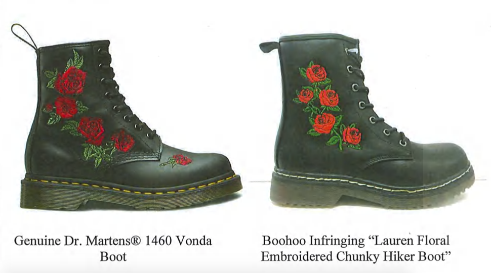 An exhibit in Dr. Martens' lawsuit against BooHoo.
