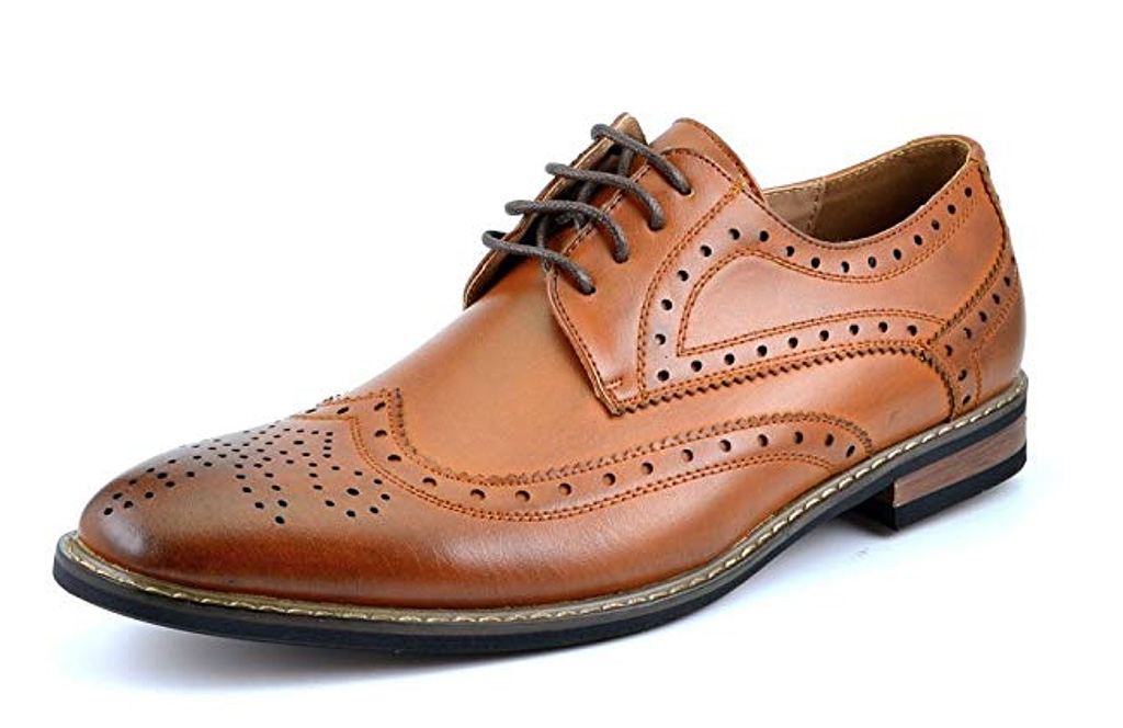 dream paris prince oxford shoes, wing tips, perforations, tan