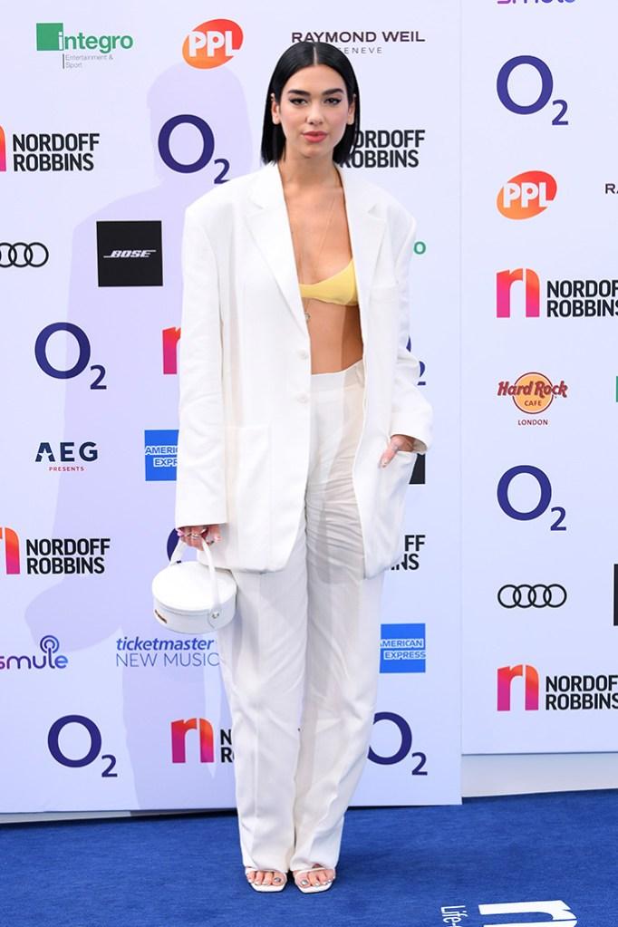 Dua Lipa, jacquemus pantsuit, bra, celebrity style, sandals, Nordoff Robbins O2 Silver Clef Awards, Arrivals, Grosvenor House, London, UK - 05 Jul 2019
