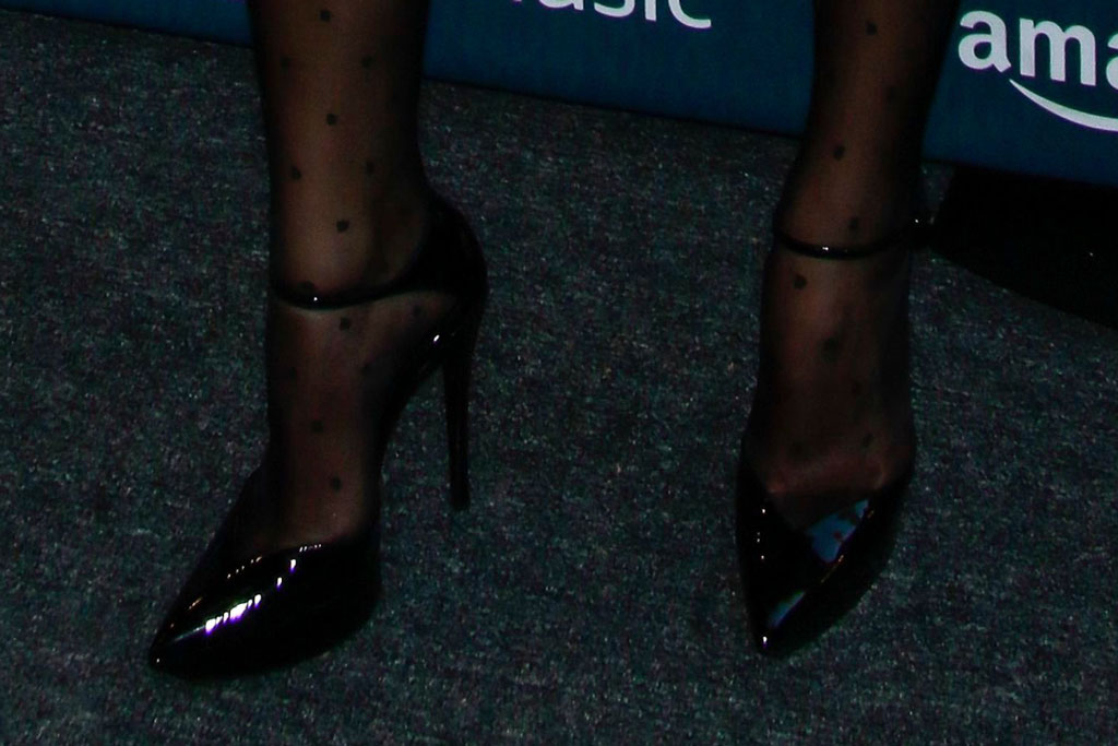 dua lipa, black ankle-strap pumps, celebrity shoe style, red carpet, amazon prime day concert, fall 2019, saint laurent