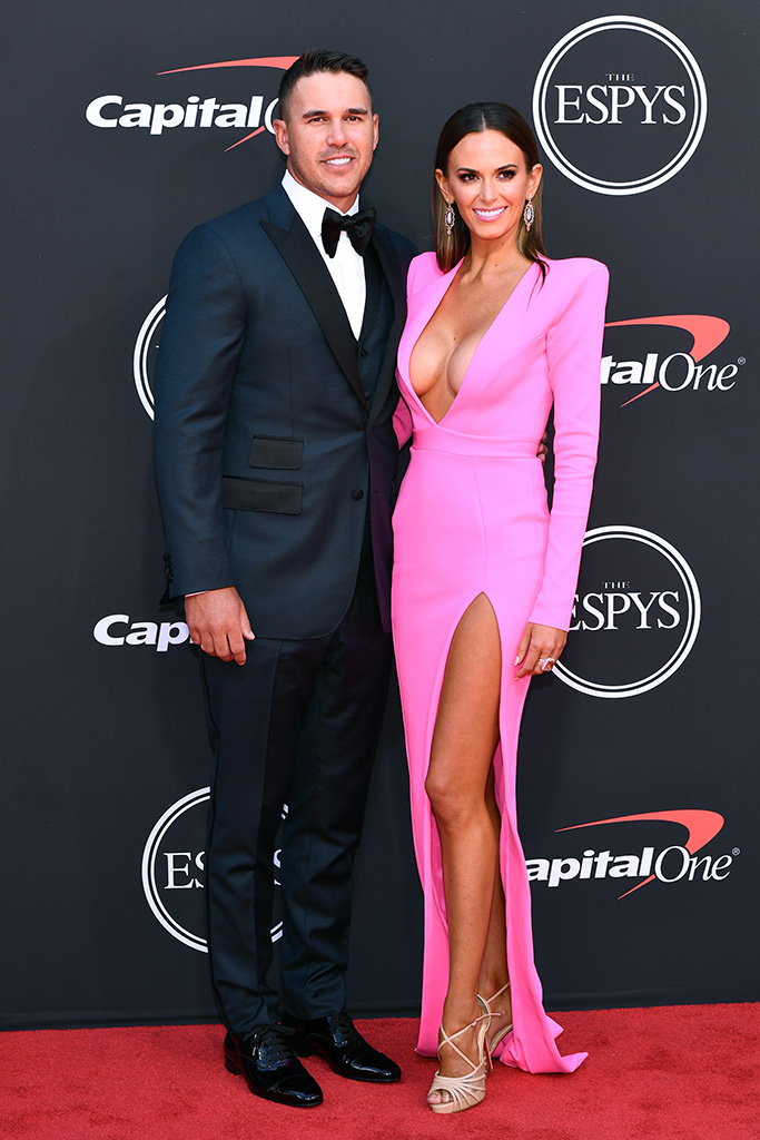 Brooks Koepka and Jena Sims, pink dress, nude christian louboutin peep toe sandals, ESPY Awards, Arrivals, Microsoft Theater, Los Angeles, USA - 10 Jul 2019