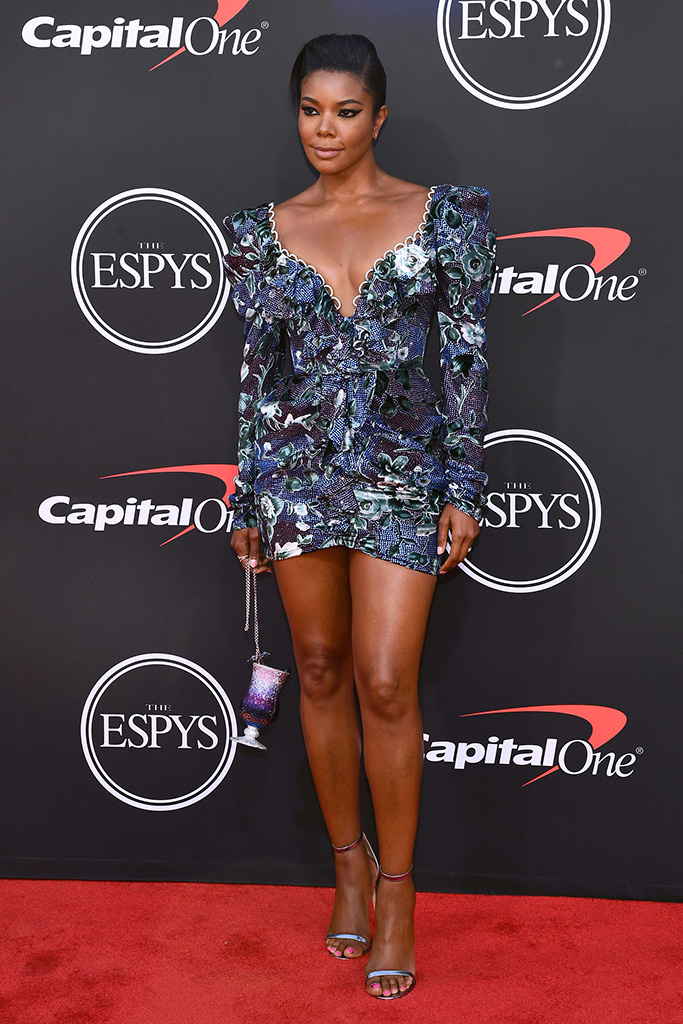 Gabrielle Union, Raisa & Vanessa dress, jimmy choo dochas sandals, ESPY Awards, Arrivals, Microsoft Theater, Los Angeles, USA - 10 Jul 2019