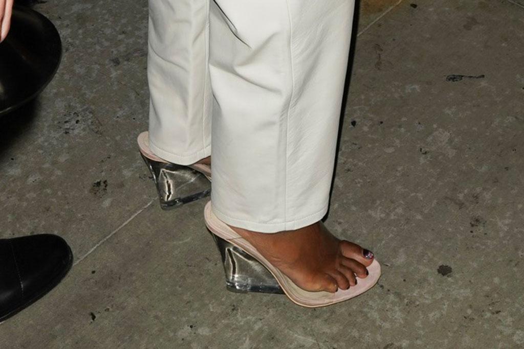 Gabrielle Union, yeezy see-through season 5 mules, celebrity style
