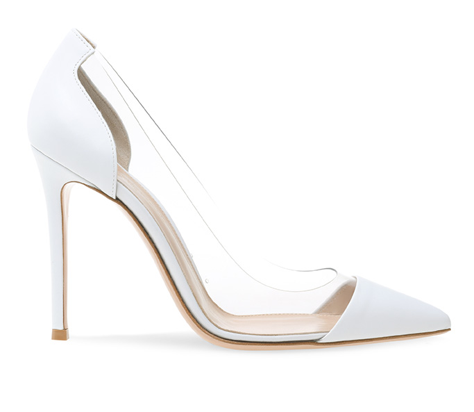 gianvito rossi plexi pumps, white heels