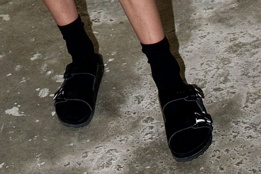 Gigi Hadid, Valentino x birkenstock, sandals, Wardrobe.NYC's forthcoming collaboration with Levi's and latest collection, Release 04 Denim, 150 Wooster St, New York, USA - 17 Jul 2019