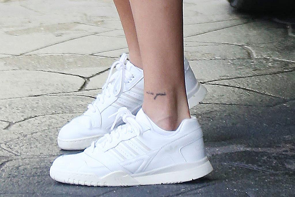 Hailey Baldwin, celebrity style, minidress, white Adidas sneakers,